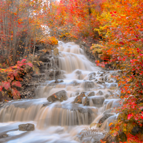 Peaceful Waterfall by Rose-marie Karlsen - Landscapes Waterscapes ( water, nature, autumn, waterfall, landscape,  )