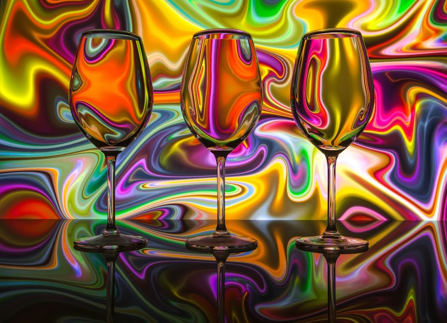 Psychedelic Sauvignon Blanc by Andy Rigby - Abstract Patterns ( abstract, sav blanc, psychedelic, wine glass, refraction, design,  )