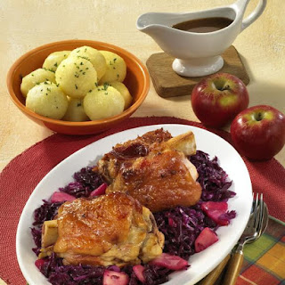 Ham Hocks with Braised Red Cabbage.