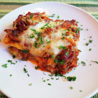 Lasagna with Spicy Pork Italian Sausage.