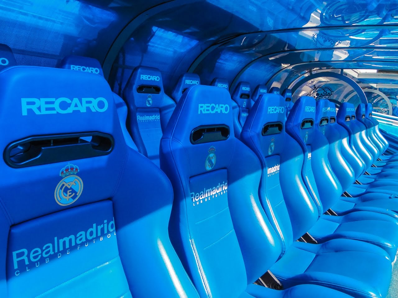 Closeup of the chairs that players sit in during furbol matches