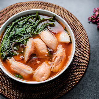 Spicy Salmon Belly and Kangkong Soup