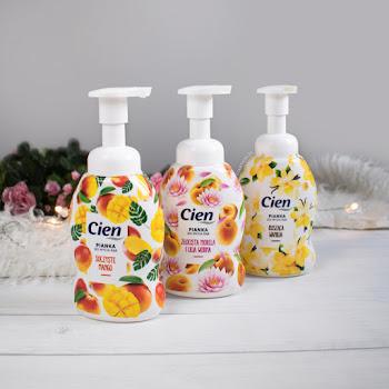 Pianki do mycia rąk Cien | Mydła do rąk z Lidla | Mango, wanilia, morela i lilia wodna