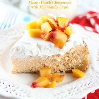 Mango Peach Cheesecake with Macadamia Crust