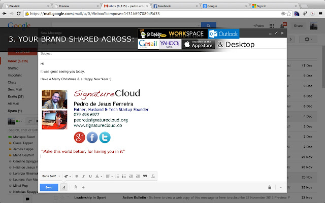 Email Signature Plugin For Use With Webmail Gmail Yahoo Outlook Godaddy Workspace Your Desktop Phone