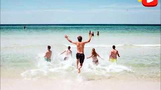 Amigos en la playa - photo card / photo description