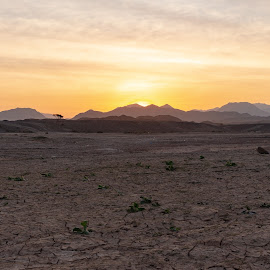 Peeping Sun by Ansari Joshi - Landscapes Sunsets & Sunrises ( dam, sunrise, mountains, cracks, desert,  )