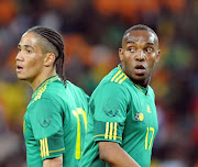 Former Bafana Bafana stars Benni McCarthy and Steven Pienaar during the International friendly between South Africa and Columbia from Soccer City on May 27, 2010 in Johannesburg, South Africa.