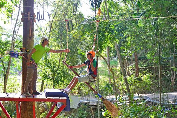 Broomstick ziplining