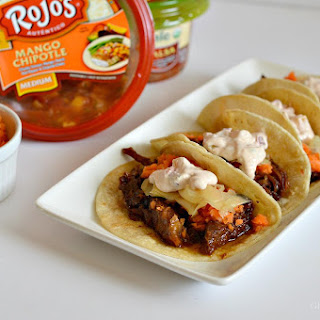 Crockpot Polynesian Pulled Pork Tacos with Pickled Ginger & Chipotle Mango Mayo.