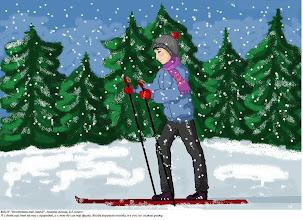 """Photo: Ананян Алина, Нестеровский лицей, 8 класс,   """"Я с детских лет на «ты» с природой, и с нею до сих пор дружу, когда хорошая погода я в лес на лыжах ухожу""""."""