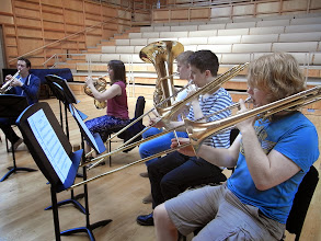 Photo: Brass players in rehearsal for the first lunchtime concert.