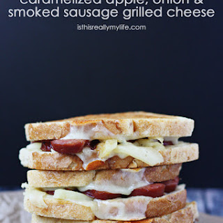 Caramelized Apple, Onion & Smoked Sausage Grilled Cheese Sandwich.