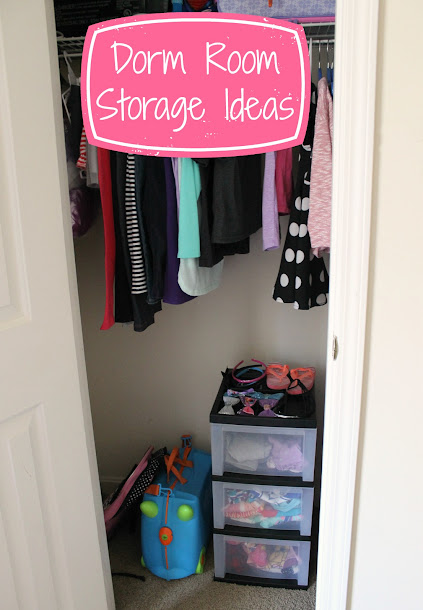 Dorm Room Storage Ideas - Increase your living space by maximizing the use of your closet and a few wheeled carts