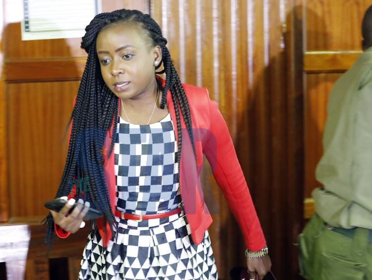 Journalist Jacque Maribe at a Milimani law court on November 20