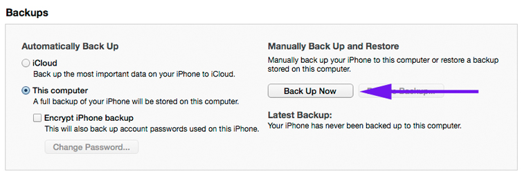 tips on how to backup your iPhone via iTunes