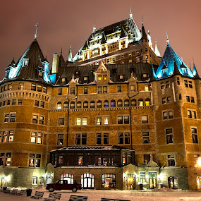 Chateau Frontenac, Quebec City by Maggie B - Buildings & Architecture Public & Historical ( lights, history, canada, quebec city, night )