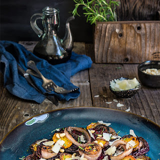 Roased Beets And Charred Onion Salad {rosemary, Pine Nuts And Pecorino Cheese}
