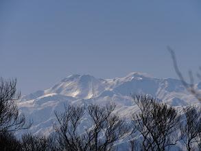 雪面が輝き(御前峰と大汝峰)