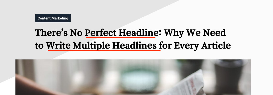 SEO-friendly headline example with keywords highlighted.
