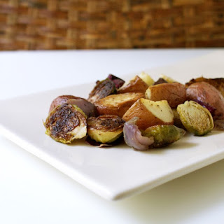 Roasted Brussels Sprouts & Red Potatoes.
