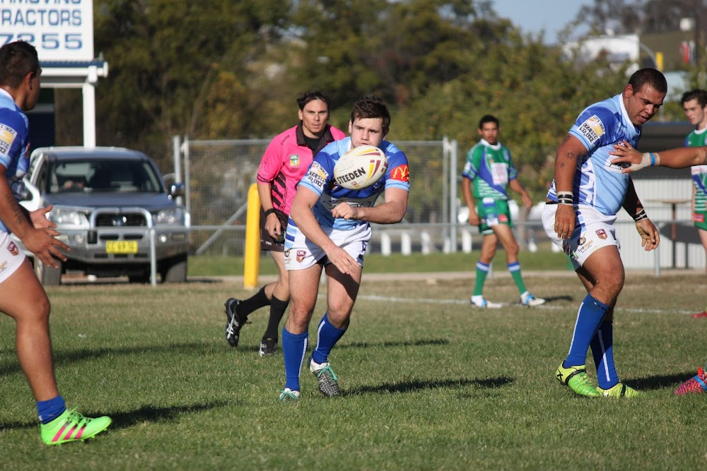 Jacob Nichols throws a pass out of dummy half in Sunday's win against Armidale.