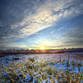 A Dream is a Wish that the Heart Makes by Phil Koch - Landscapes Prairies, Meadows & Fields ( love, trending, sunrise, shadow, rural, winter, endless, hope, fineart, sun, twilight, canon, beautiful, unity, pastel, white, joy, popular, arts, meadow, wisconsin, green, dramatic, horizon, sunlight, field, blue, light, snow, peace, earth, shadows, travel )