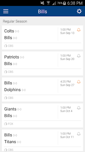 Football Schedule for Bills