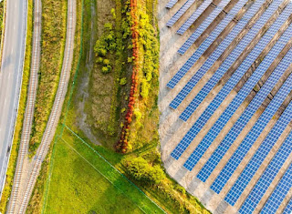 Aerial view of a solar farm.