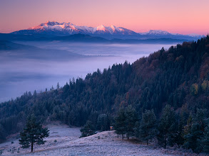 Photo: Lesnica, Slovakia  Morning view of High Tatras from Lesnicke sedlo.