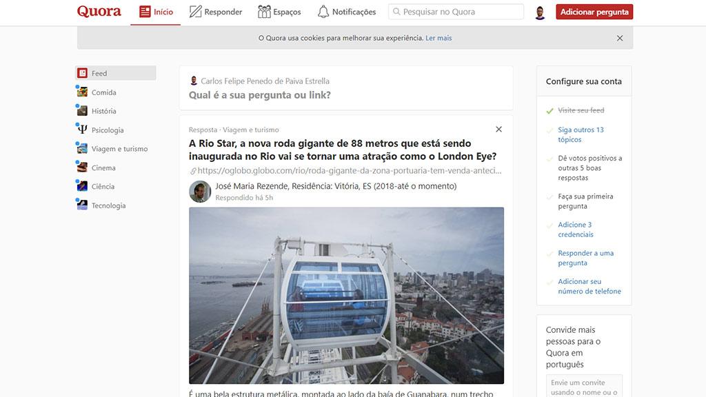 página inicial do site de perguntas e repsostas quora em português