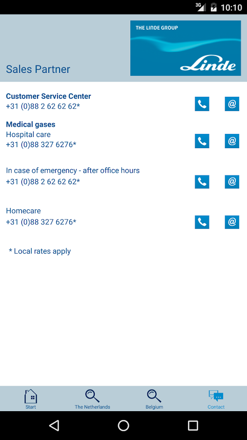 Linde Gas- screenshot