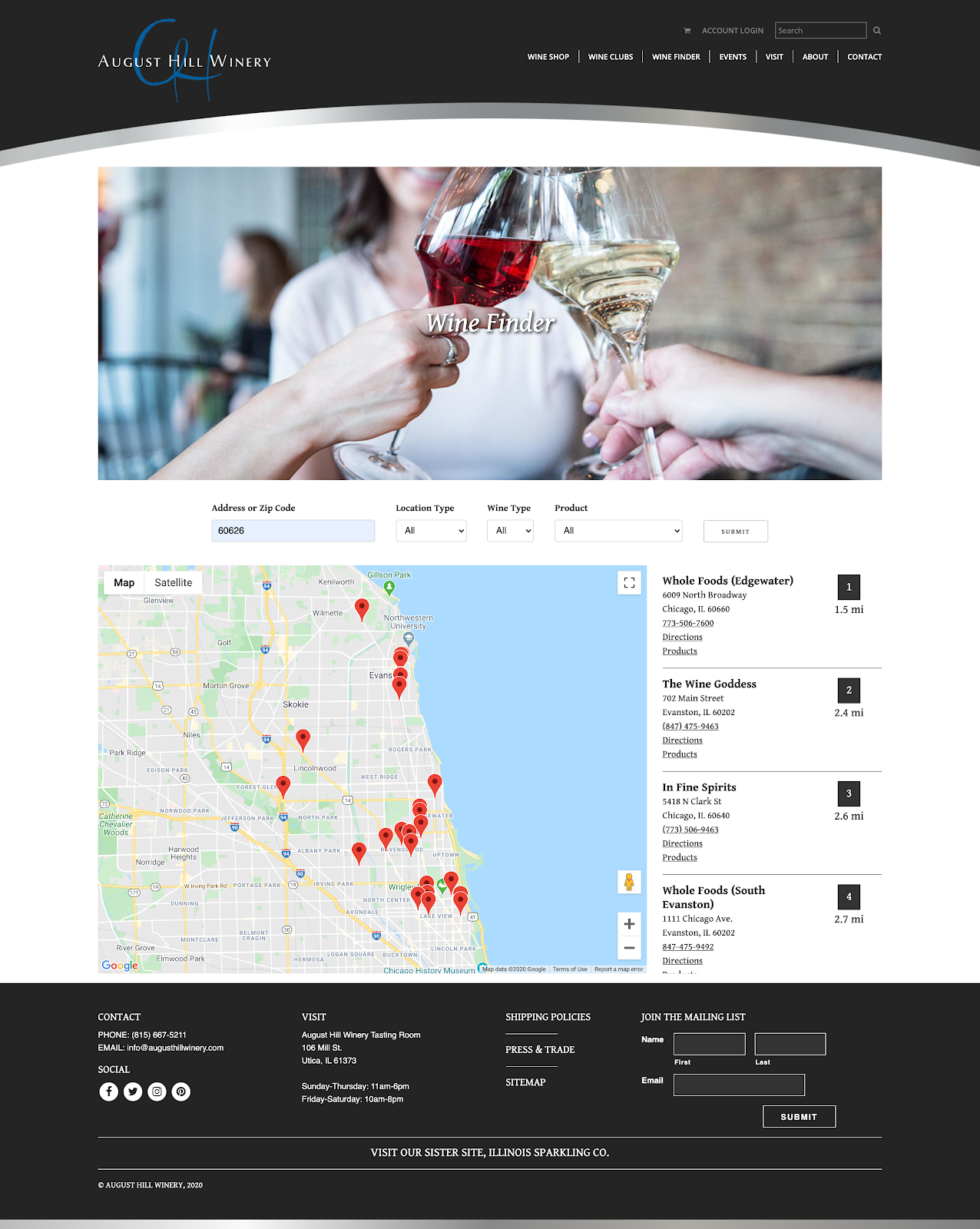 Screenshot of August Hill Winery's location feature