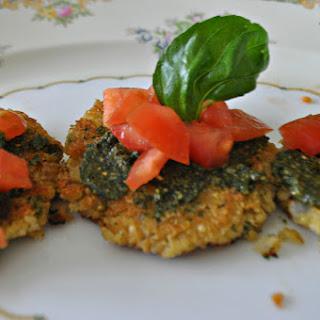 Quinoa Cakes with Tomato and Pesto.