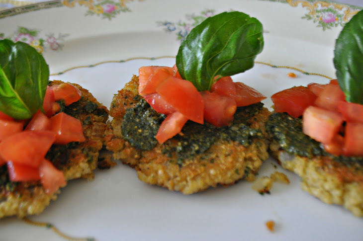 Quinoa Cakes with Tomato and Pesto Recipe | Yummly