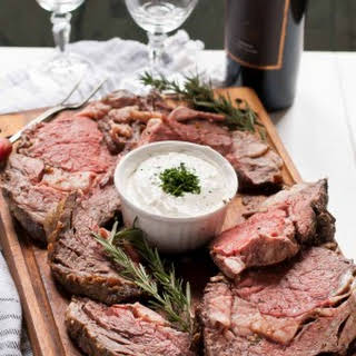 Garlic Rosemary Prime Rib Roast with Horseradish Cream.