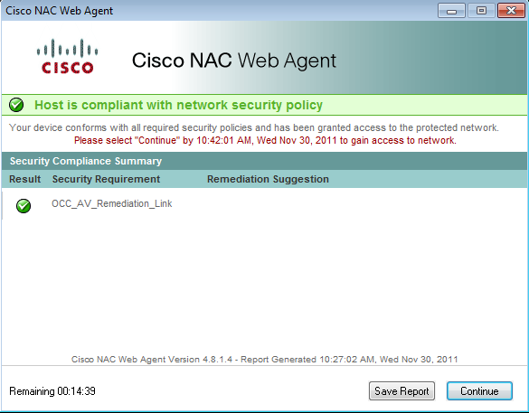 Cisco successful security requirements notification screen