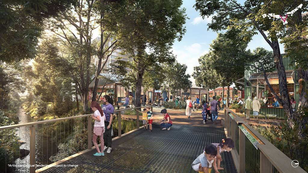 A rendering of the Creekside Walk showing a bridge over Los Gatos Creek and small children on the bridge looking at signage and down the creek.