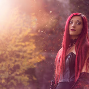 Fantasy Woods by Livio Siano - People Portraits of Women ( fantasy, girl, autumn, beautiful, redhead, forest, beauty in nature, beauty, light, woods )