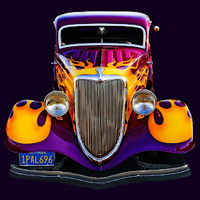 Hotrod by Andrew Tolsma - Transportation Automobiles ( flames, purple grill, cars, yellow, ford, hot rod )