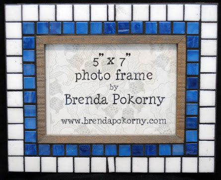 MOF1465 Rustic Blue and White Mosaic Photo Frame
