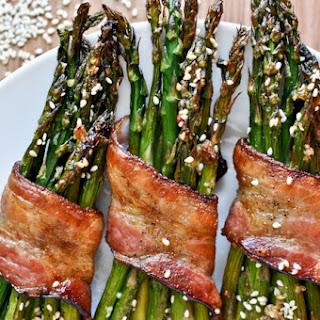 Bacon Wrapped Caramelized Sesame Asparagus.