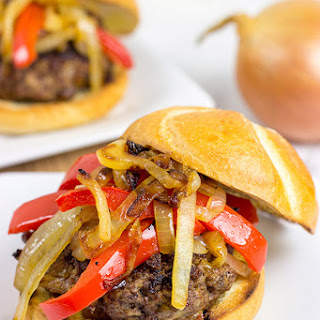 Smoky Pepper and Onion Cheeseburger