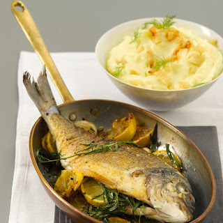 Estragon-Dorade vom Blech mit Kartoffel-Fenchel-Püree