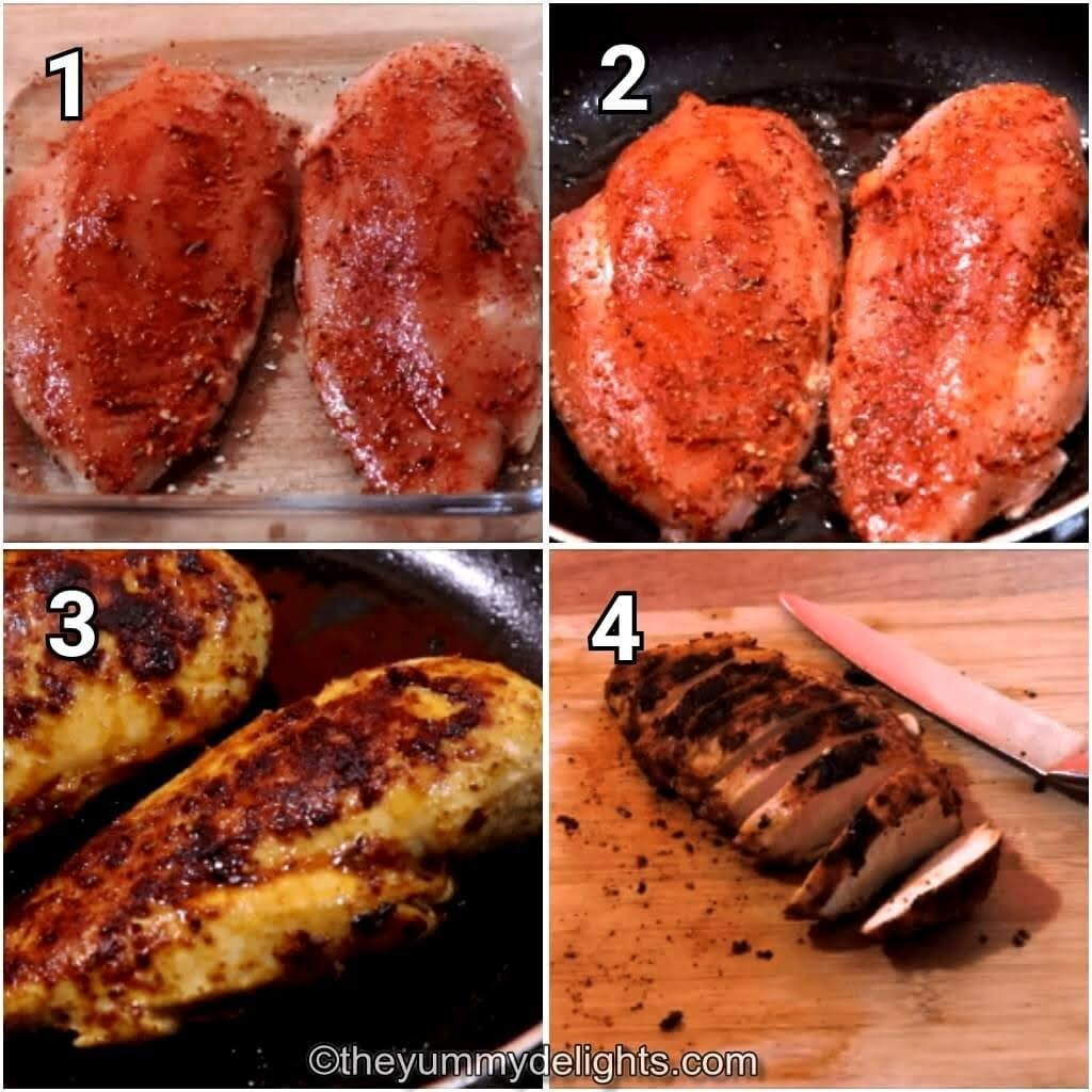 step by step image of marinating the chicken, frying it & slicing it into strips to make chicken fajitas