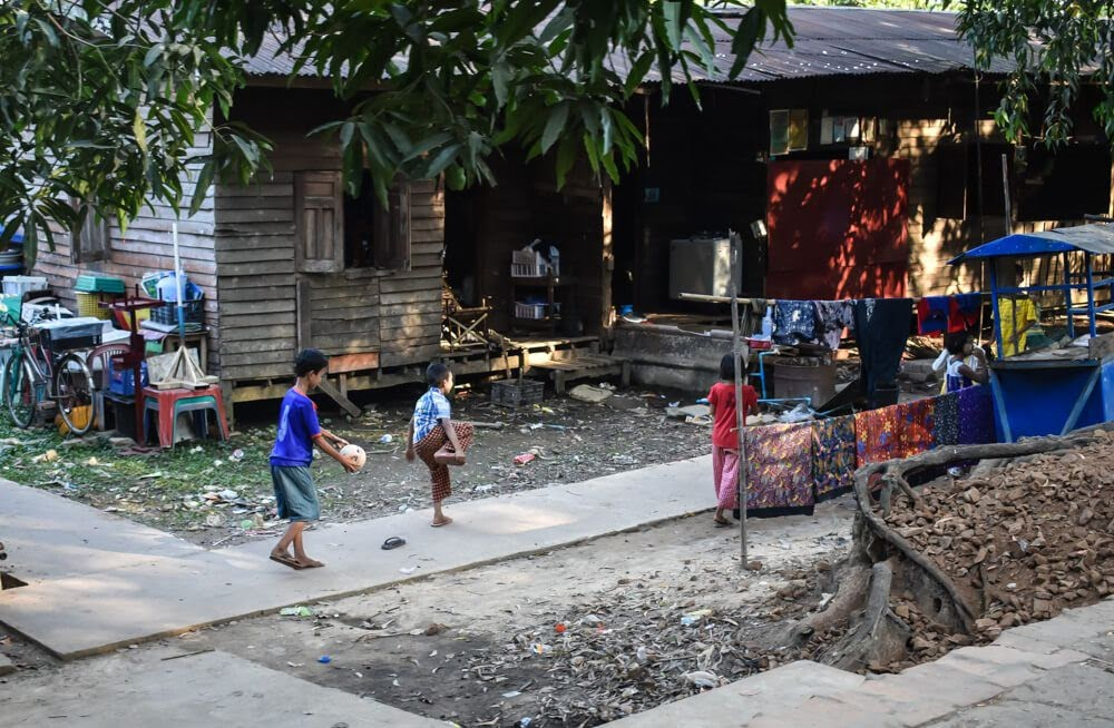children playing yangon suburbs