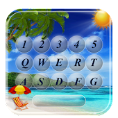 Tropical Keyboard With Beach Paradise Summer Theme