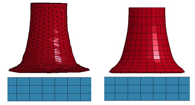 ANSYS Моделирование «теста Тейлора». Слева показан вариант №2 с элементами в форме тетраэдров, справа – вариант №1 с гексаэдрическими элементами