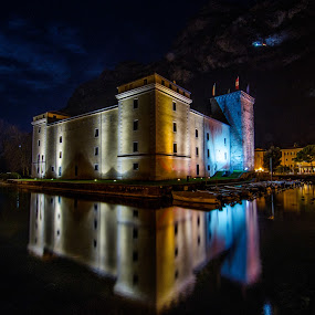 The Castle of lights by Mattia Bonavida - Landscapes Travel ( water, bonavida, landscape, nightscape, lights, mountains, mattia, d7000, long exposure, lake garda, castle, nikon, italy )