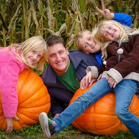 It's pumpkin time! by Wilson Silverthorne - People Family ( cornfield, halloween, dad, pumpkin, kids,  )